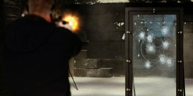 the glass is shot 10 times with an AR15 .223 round